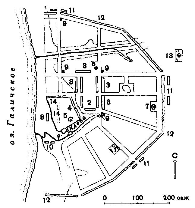 Схема плана города Чухломы