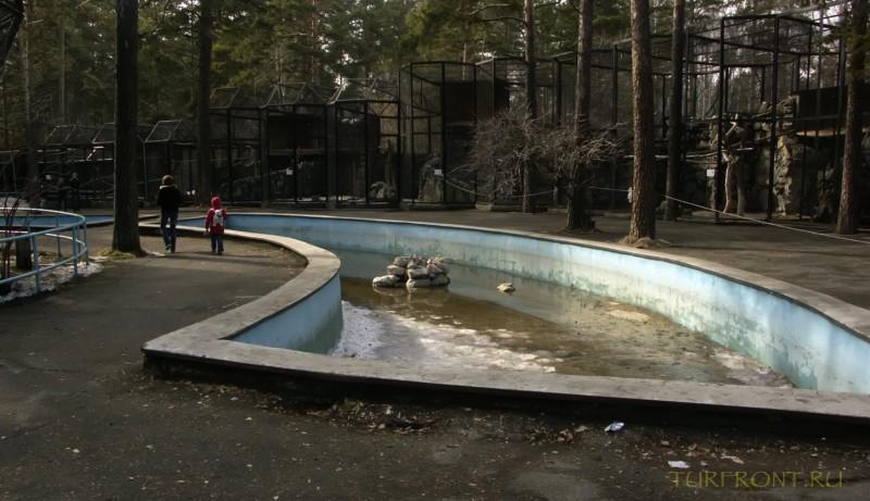 Новосибирский зоопарк: Клетки и бассейн на территории зоопарка. (фотография №9)
