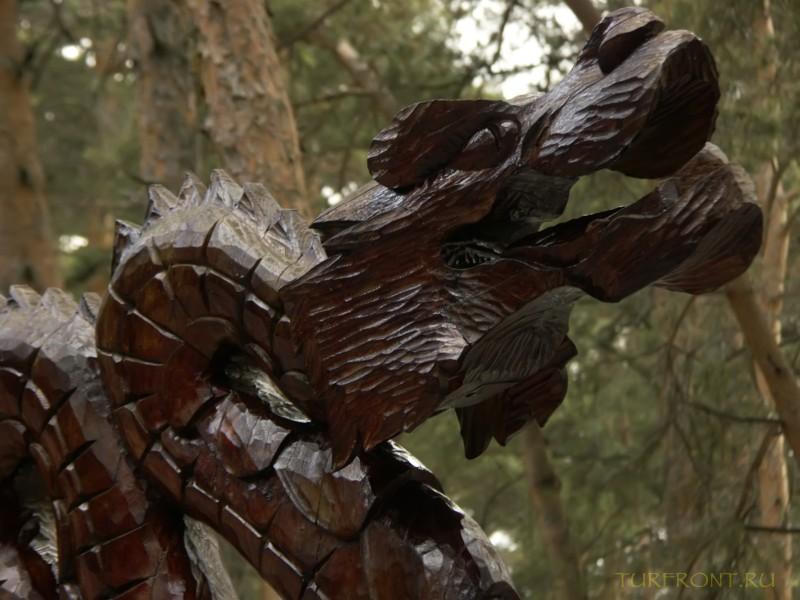Новосибирский зоопарк: Конек-дракон из дерева. Элемент оформления китайского ресторана. (фотография №25)